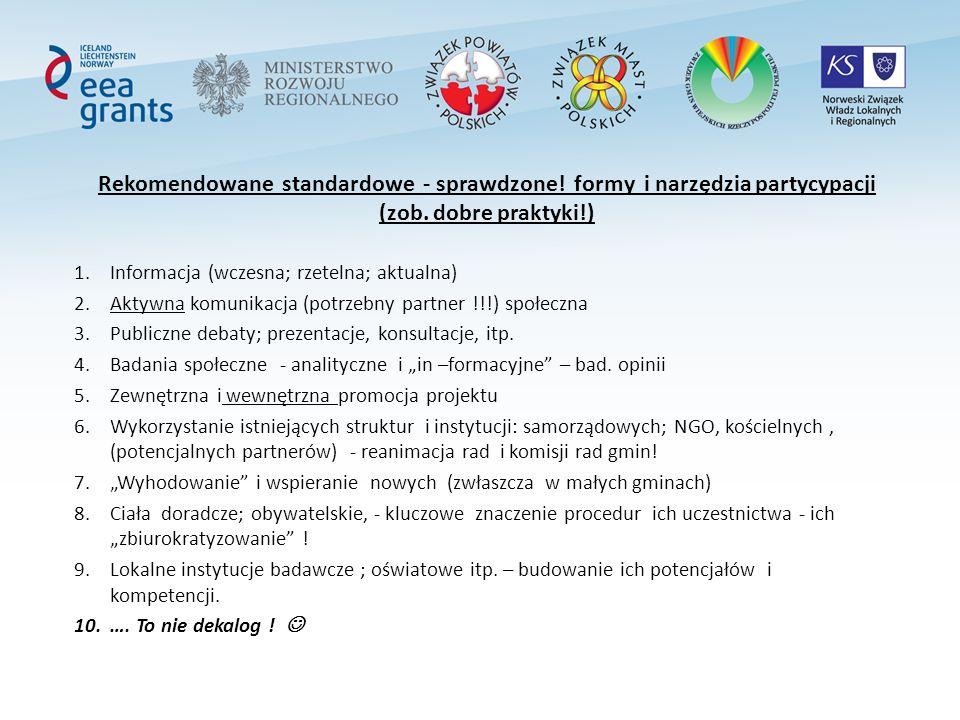 Rekomendowane standardowe - sprawdzone. formy i narzędzia partycypacji (zob.