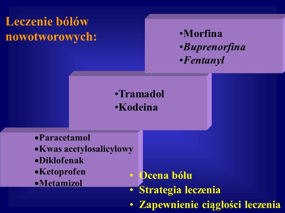 Paracetamol Kwas acetylosalicylowy Diklofenak Ketoprofen Metamizol Morfina Buprenorfina Fentanyl Leczenie bólów nowotworowych: Tramadol Kodeina Ocena