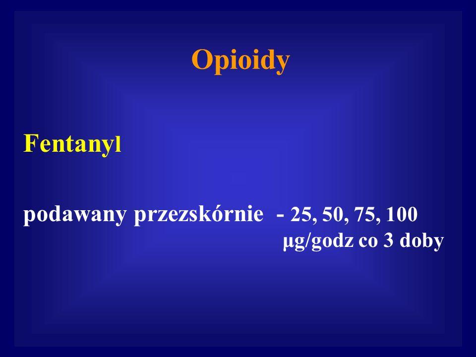 Fentany l podawany przezskórnie - 25, 50, 75, 100 μg/godz co 3 doby Opioidy