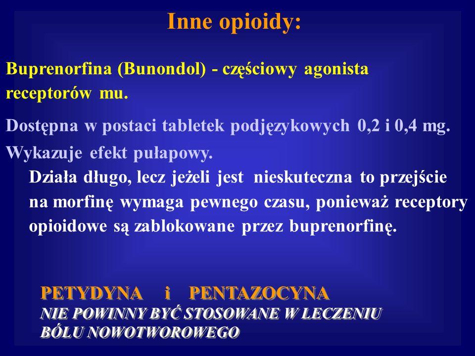 Inne opioidy: Buprenorfina (Bunondol) - częściowy agonista receptorów mu. Dostępna w postaci tabletek podjęzykowych 0,2 i 0,4 mg. Wykazuje efekt pułap