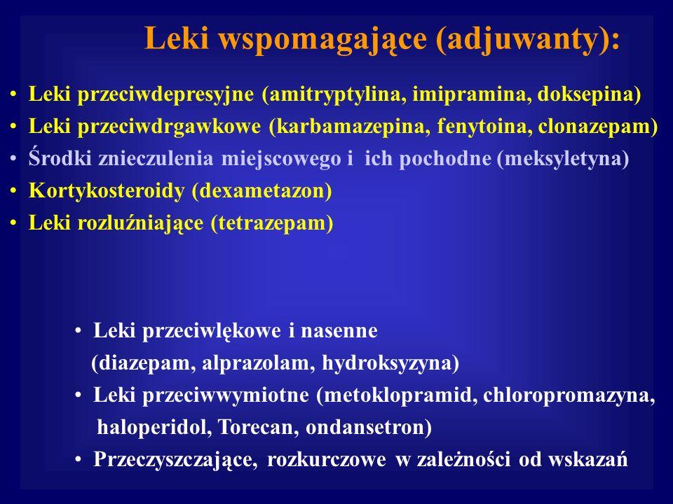 Leki przeciwdepresyjne (amitryptylina, imipramina, doksepina) Leki przeciwdrgawkowe (karbamazepina, fenytoina, clonazepam) Środki znieczulenia miejsco