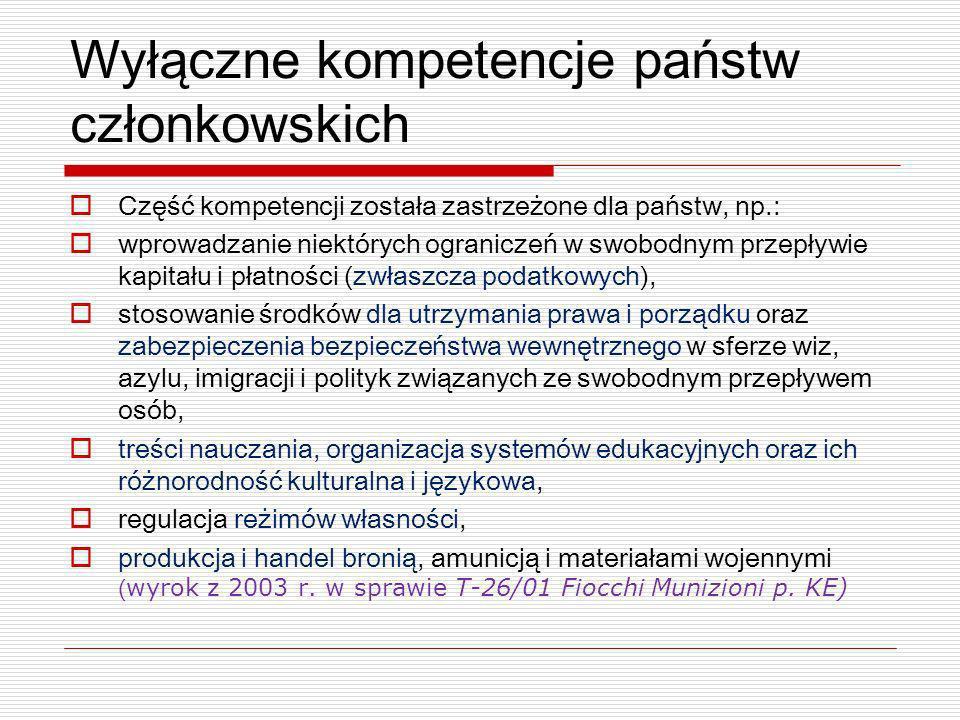 Wyłączne kompetencje państw członkowskich Część kompetencji została zastrzeżone dla państw, np.: wprowadzanie niektórych ograniczeń w swobodnym przepł