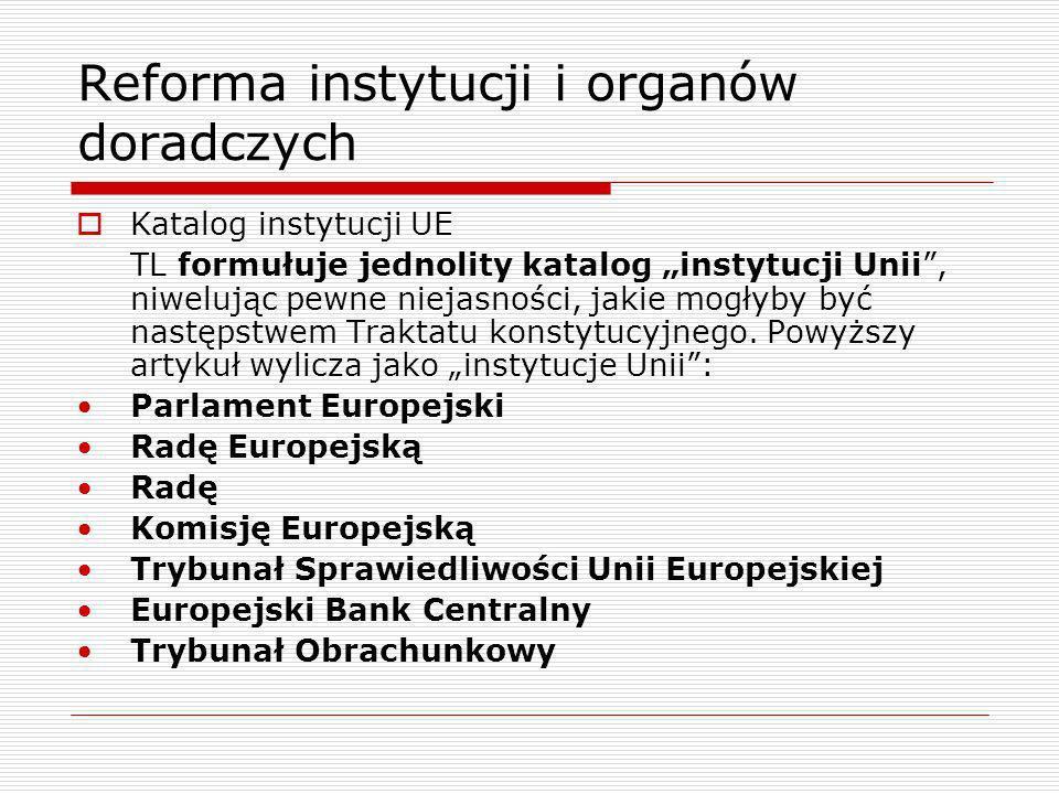 Reforma instytucji i organów doradczych Katalog instytucji UE TL formułuje jednolity katalog instytucji Unii, niwelując pewne niejasności, jakie mogły