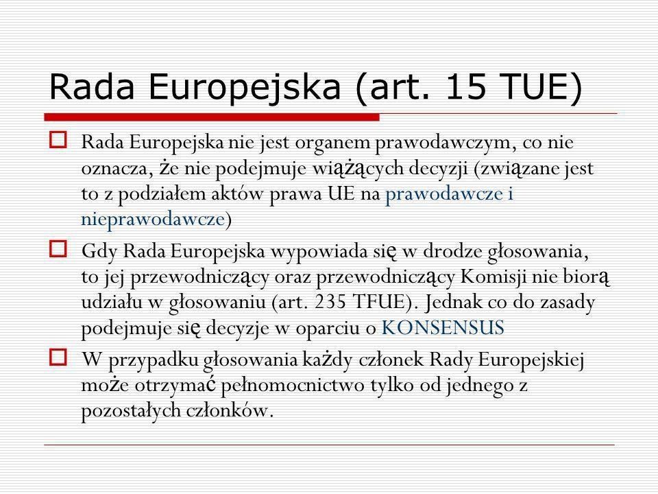 Rada Europejska (art. 15 TUE) Rada Europejska nie jest organem prawodawczym, co nie oznacza, ż e nie podejmuje wi ążą cych decyzji (zwi ą zane jest to