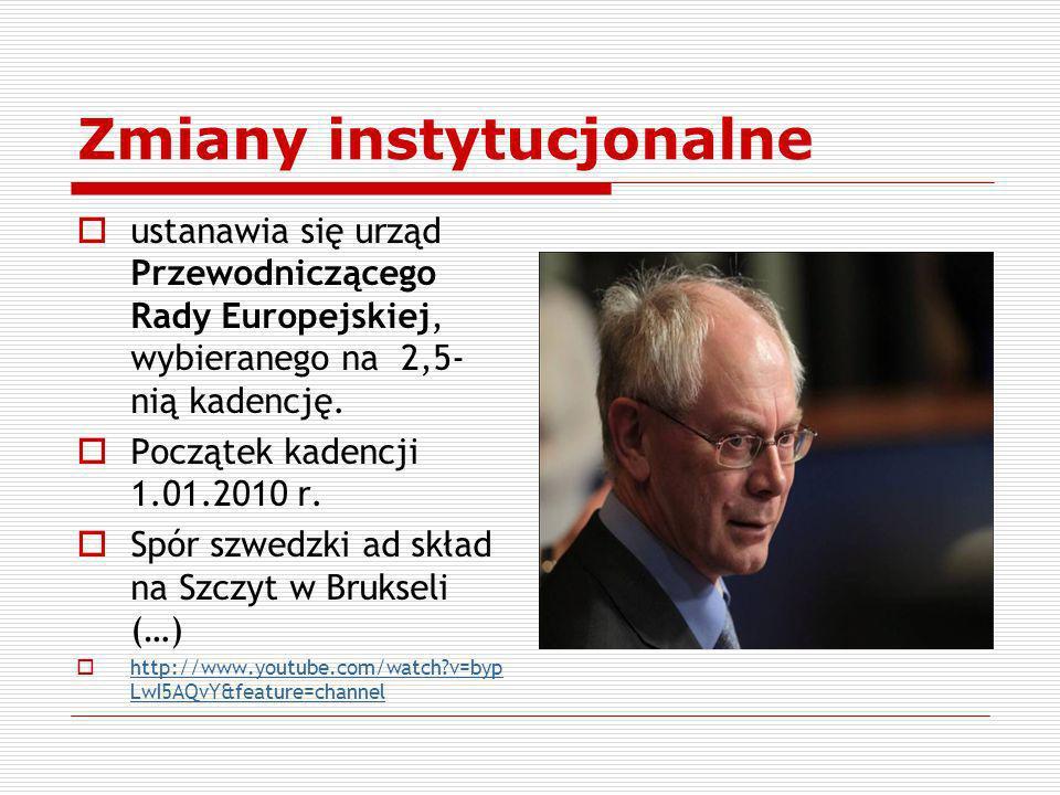 Zmiany instytucjonalne ustanawia się urząd Przewodniczącego Rady Europejskiej, wybieranego na 2,5- nią kadencję. Początek kadencji 1.01.2010 r. Spór s