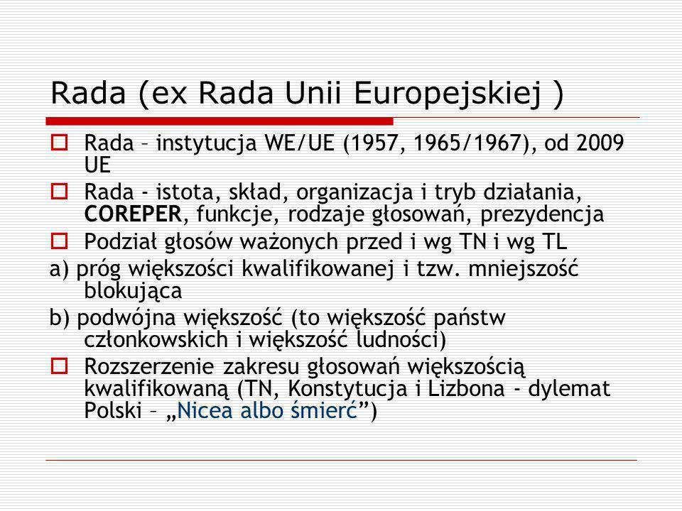 Rada (ex Rada Unii Europejskiej ) Rada – instytucja WE/UE (1957, 1965/1967), od 2009 UE Rada - istota, skład, organizacja i tryb działania, COREPER, f