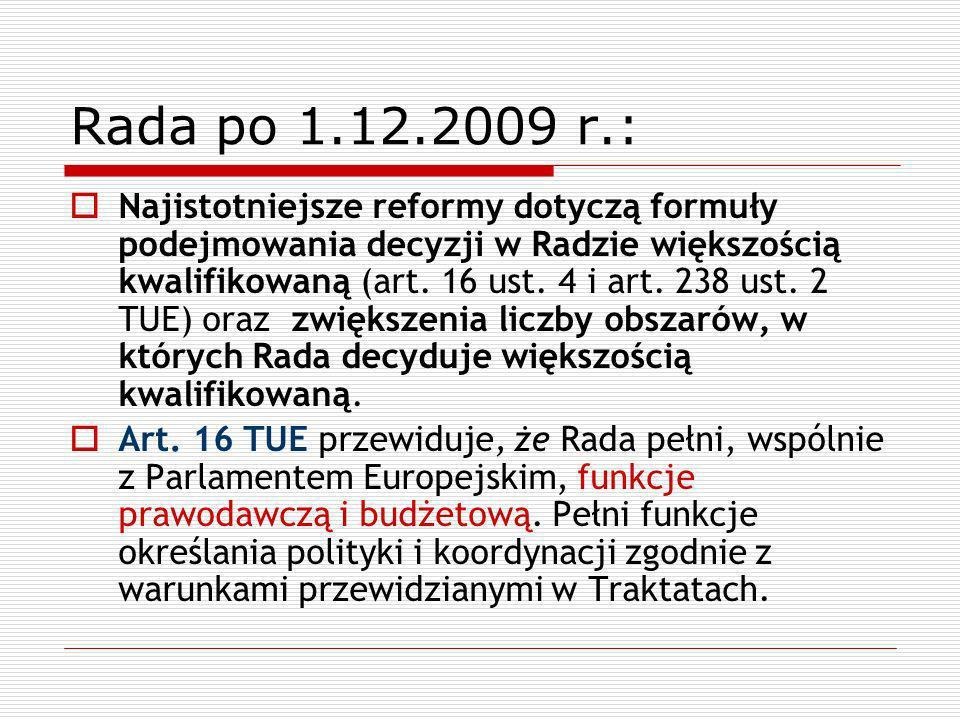 Rada po 1.12.2009 r.: Najistotniejsze reformy dotyczą formuły podejmowania decyzji w Radzie większością kwalifikowaną (art. 16 ust. 4 i art. 238 ust.