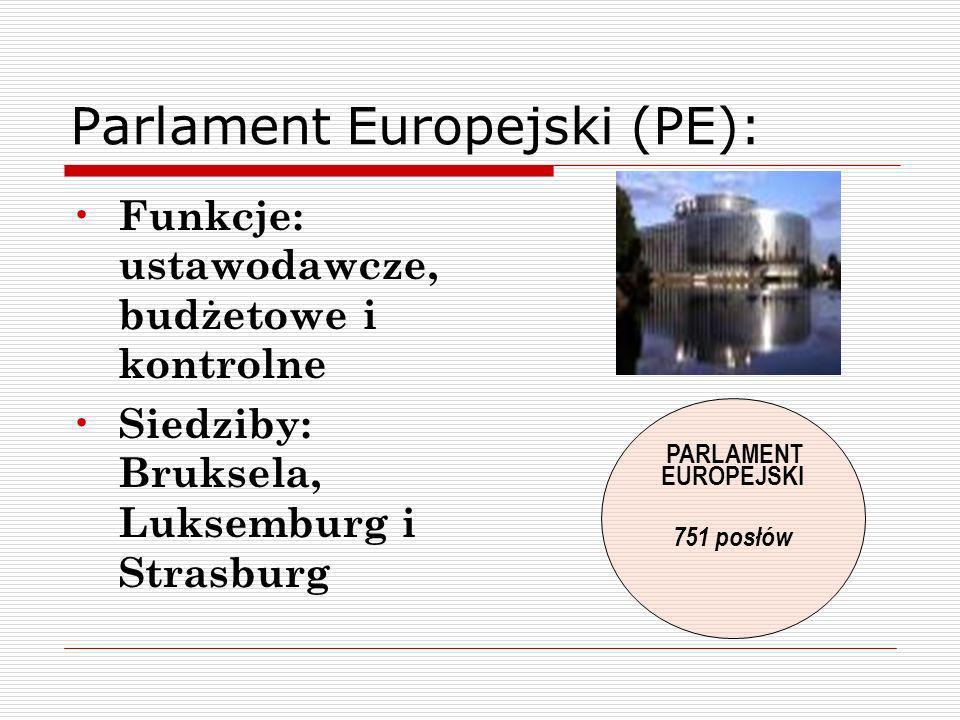 Parlament Europejski (PE): Funkcje: ustawodawcze, budżetowe i kontrolne Siedziby: Bruksela, Luksemburg i Strasburg PARLAMENT EUROPEJSKI 751 posłów