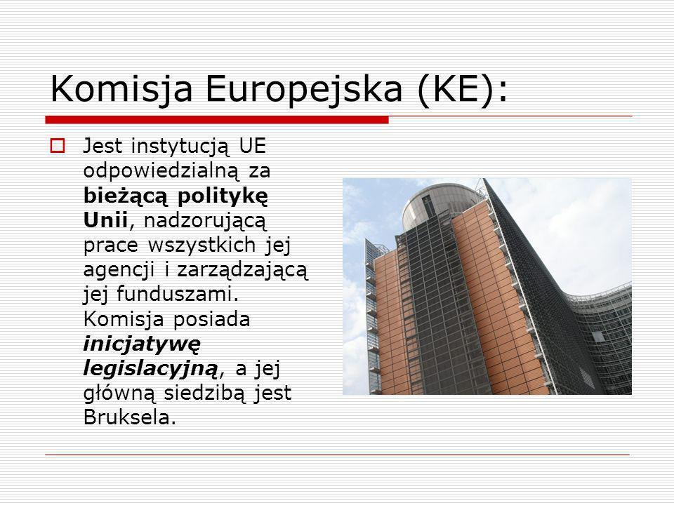 Komisja Europejska (KE): Jest instytucją UE odpowiedzialną za bieżącą politykę Unii, nadzorującą prace wszystkich jej agencji i zarządzającą jej fundu