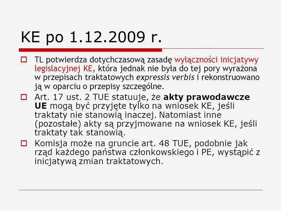 KE po 1.12.2009 r. TL potwierdza dotychczasową zasadę wyłączności inicjatywy legislacyjnej KE, która jednak nie była do tej pory wyrażona w przepisach