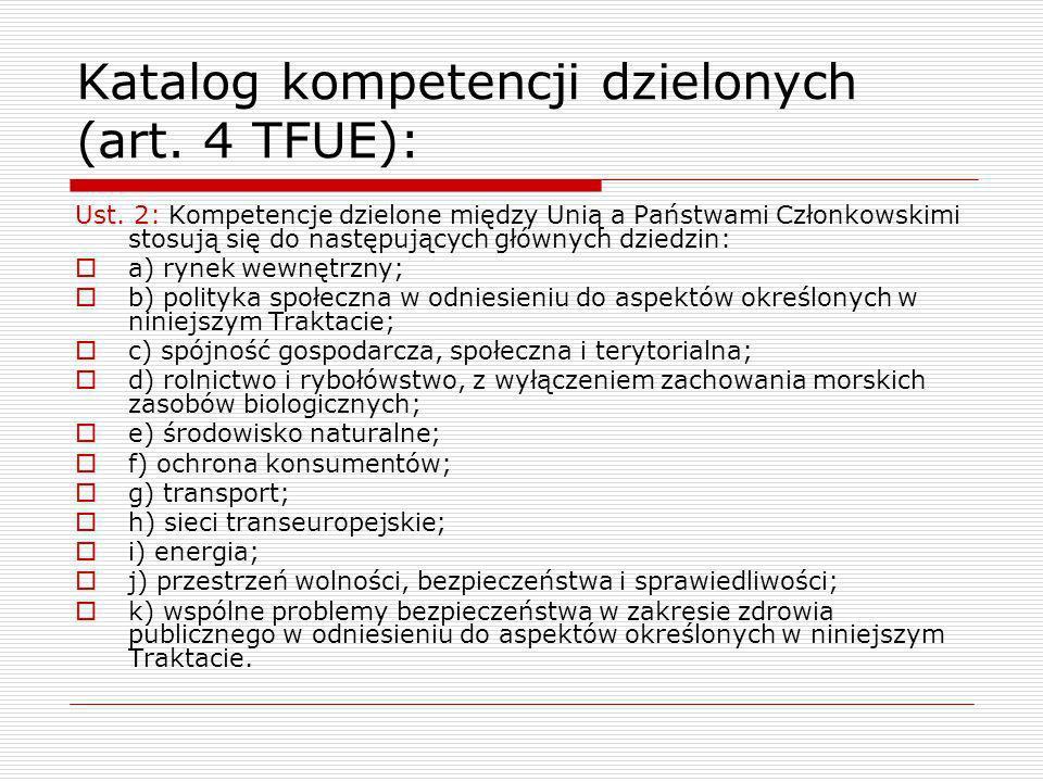 Katalog kompetencji dzielonych (art. 4 TFUE): Ust. 2: Kompetencje dzielone między Unią a Państwami Członkowskimi stosują się do następujących głównych