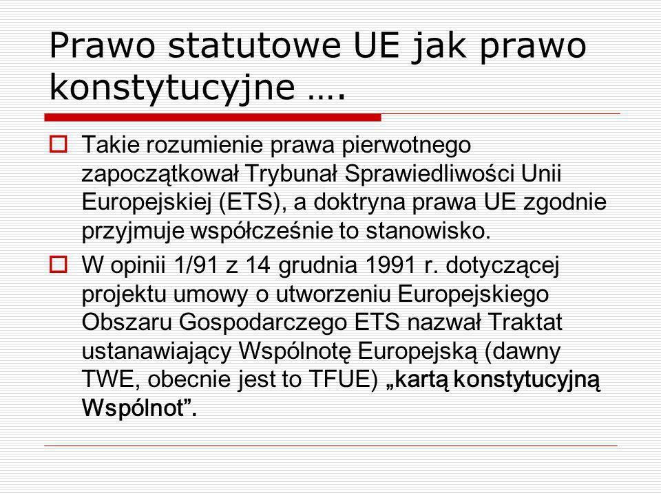 Prawo statutowe UE jak prawo konstytucyjne …. Takie rozumienie prawa pierwotnego zapoczątkował Trybunał Sprawiedliwości Unii Europejskiej (ETS), a dok