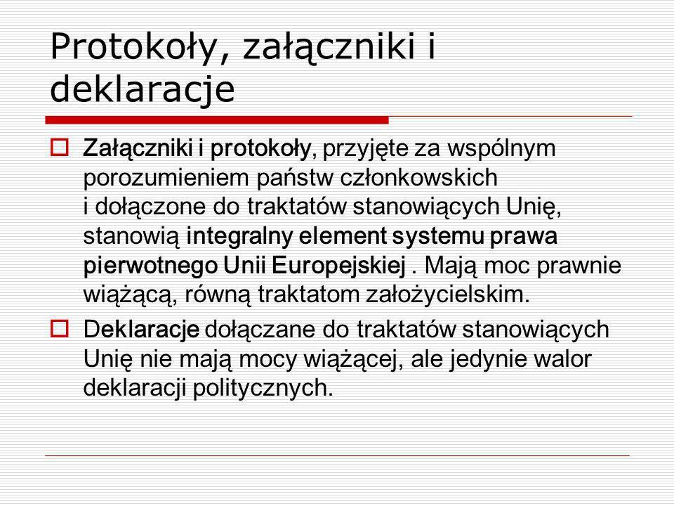 Protokoły, załączniki i deklaracje Załączniki i protokoły, przyjęte za wspólnym porozumieniem państw członkowskich i dołączone do traktatów stanowiący