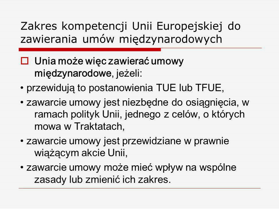 Zakres kompetencji Unii Europejskiej do zawierania umów międzynarodowych Unia może więc zawierać umowy międzynarodowe, jeżeli: przewidują to postanowi
