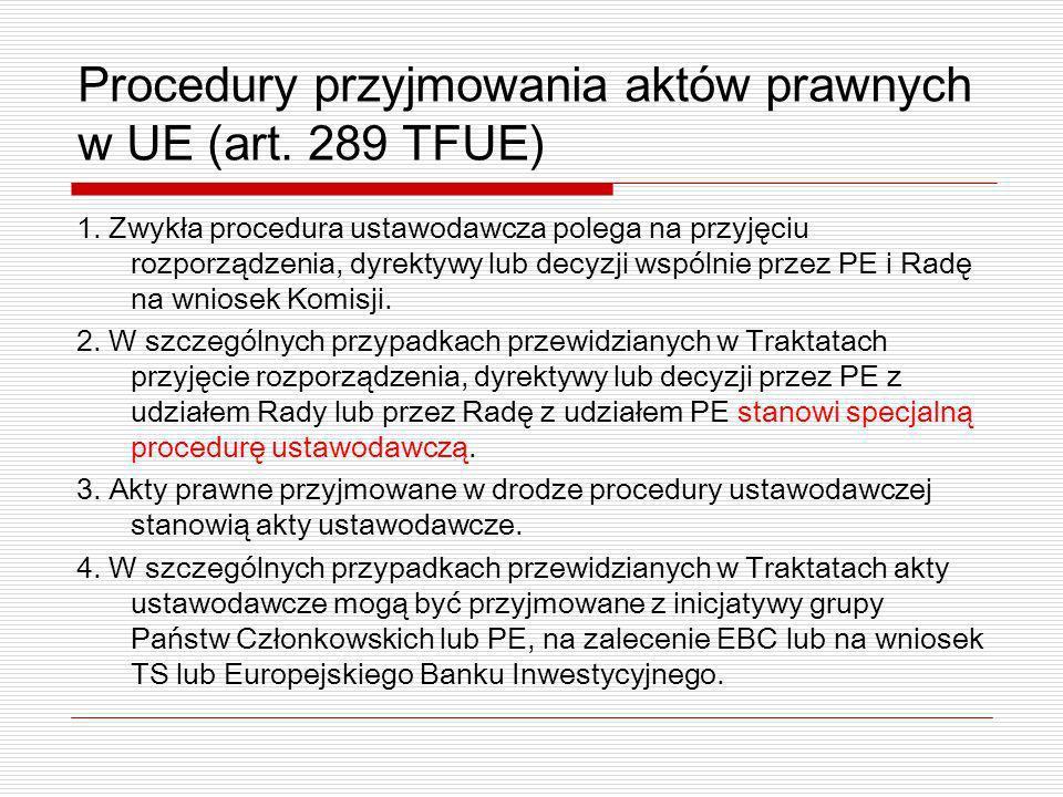 Procedury przyjmowania aktów prawnych w UE (art. 289 TFUE) 1. Zwykła procedura ustawodawcza polega na przyjęciu rozporządzenia, dyrektywy lub decyzji