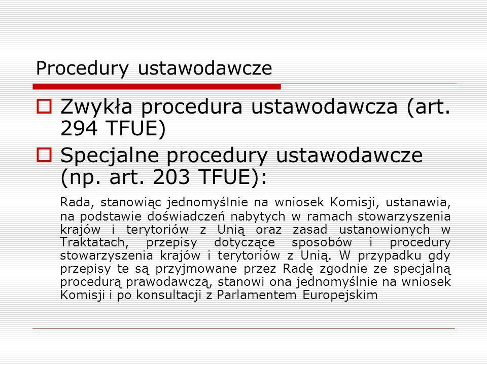 Procedury ustawodawcze Zwykła procedura ustawodawcza (art. 294 TFUE) Specjalne procedury ustawodawcze (np. art. 203 TFUE): Rada, stanowiąc jednomyślni