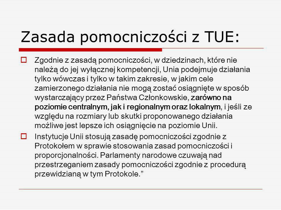 Zasada pomocniczości z TUE: Zgodnie z zasadą pomocniczości, w dziedzinach, które nie należą do jej wyłącznej kompetencji, Unia podejmuje działania tyl
