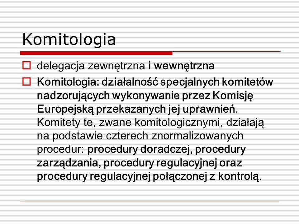Komitologia delegacja zewnętrzna i wewnętrzna Komitologia: działalność specjalnych komitetów nadzorujących wykonywanie przez Komisję Europejską przeka