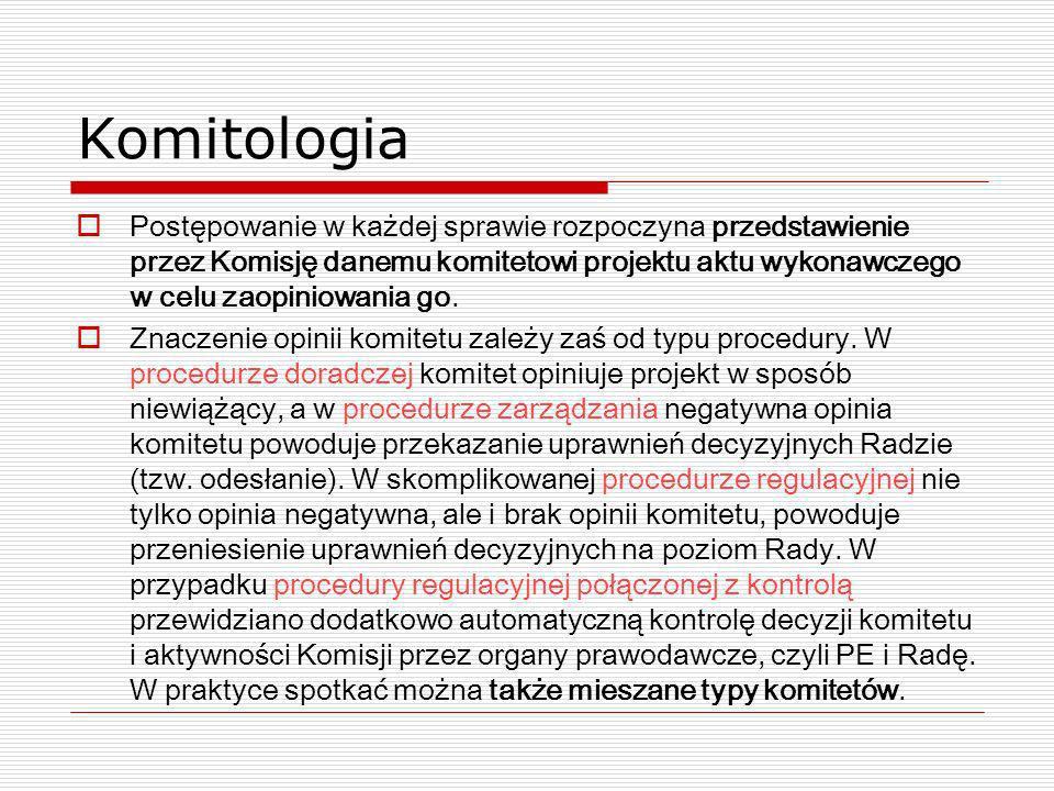 Komitologia Postępowanie w każdej sprawie rozpoczyna przedstawienie przez Komisję danemu komitetowi projektu aktu wykonawczego w celu zaopiniowania go