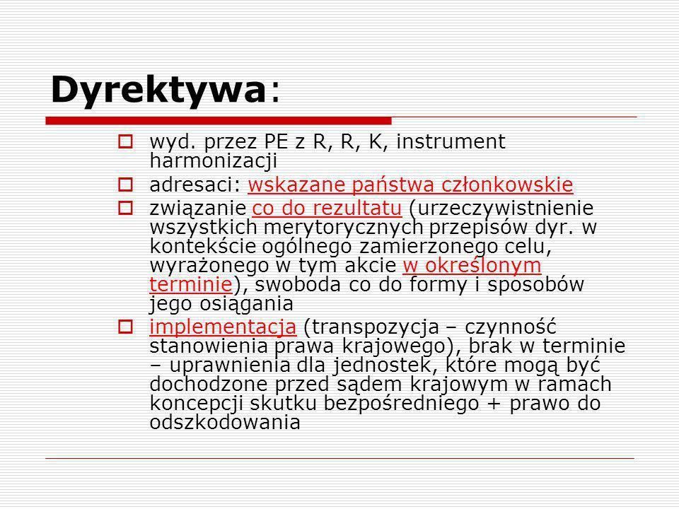 Dyrektywa: wyd. przez PE z R, R, K, instrument harmonizacji adresaci: wskazane państwa członkowskie związanie co do rezultatu (urzeczywistnienie wszys