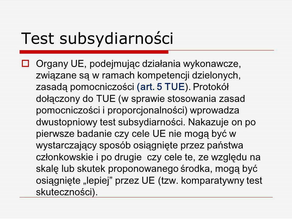 Test subsydiarności Organy UE, podejmując działania wykonawcze, związane są w ramach kompetencji dzielonych, zasadą pomocniczości (art. 5 TUE). Protok