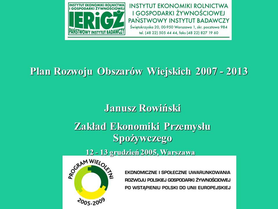 Plan Rozwoju Obszarów Wiejskich 2007 - 2013 12 - 13 grudzień 2005, Warszawa Janusz Rowiński Zakład Ekonomiki Przemysłu Spożywczego