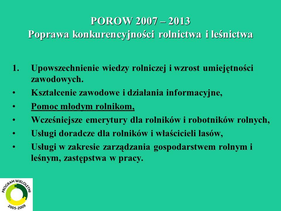 POROW 2007 – 2013 Poprawa konkurencyjności rolnictwa i leśnictwa 1.Upowszechnienie wiedzy rolniczej i wzrost umiejętności zawodowych. Kształcenie zawo