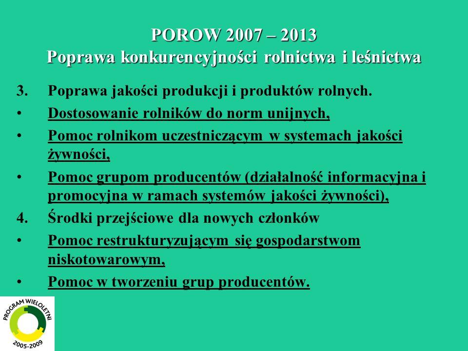 POROW 2007 – 2013 Poprawa konkurencyjności rolnictwa i leśnictwa 3.Poprawa jakości produkcji i produktów rolnych. Dostosowanie rolników do norm unijny