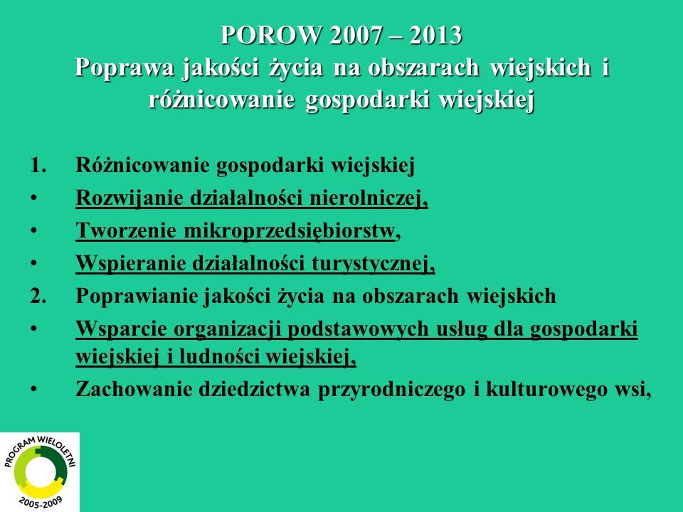 POROW 2007 – 2013 Poprawa jakości życia na obszarach wiejskich i różnicowanie gospodarki wiejskiej 1.Różnicowanie gospodarki wiejskiej Rozwijanie dzia