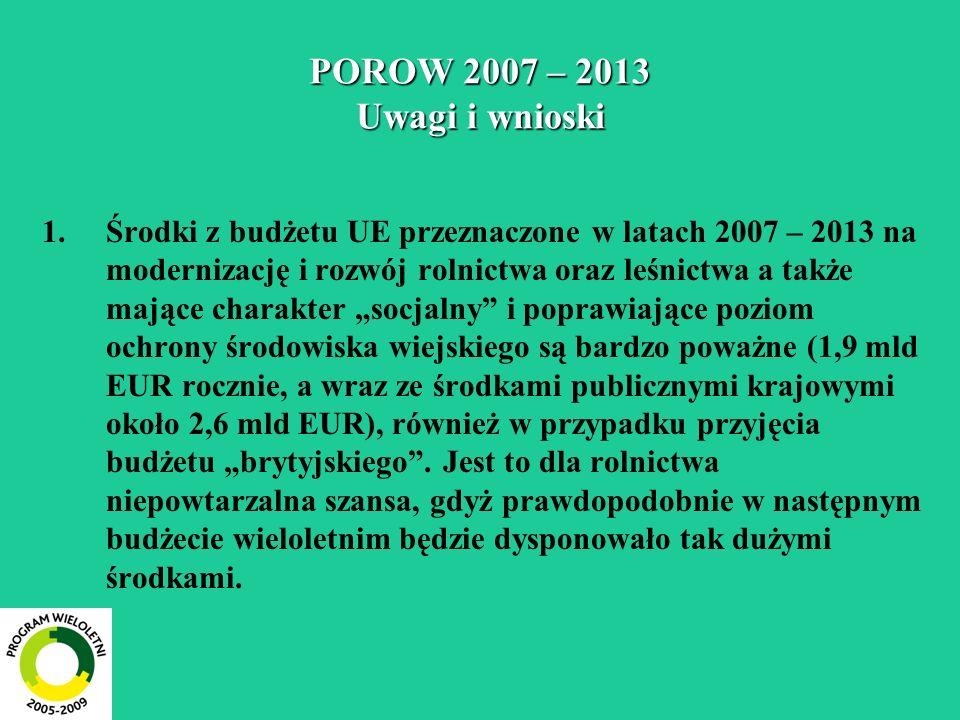 POROW 2007 – 2013 Uwagi i wnioski 1.Środki z budżetu UE przeznaczone w latach 2007 – 2013 na modernizację i rozwój rolnictwa oraz leśnictwa a także ma
