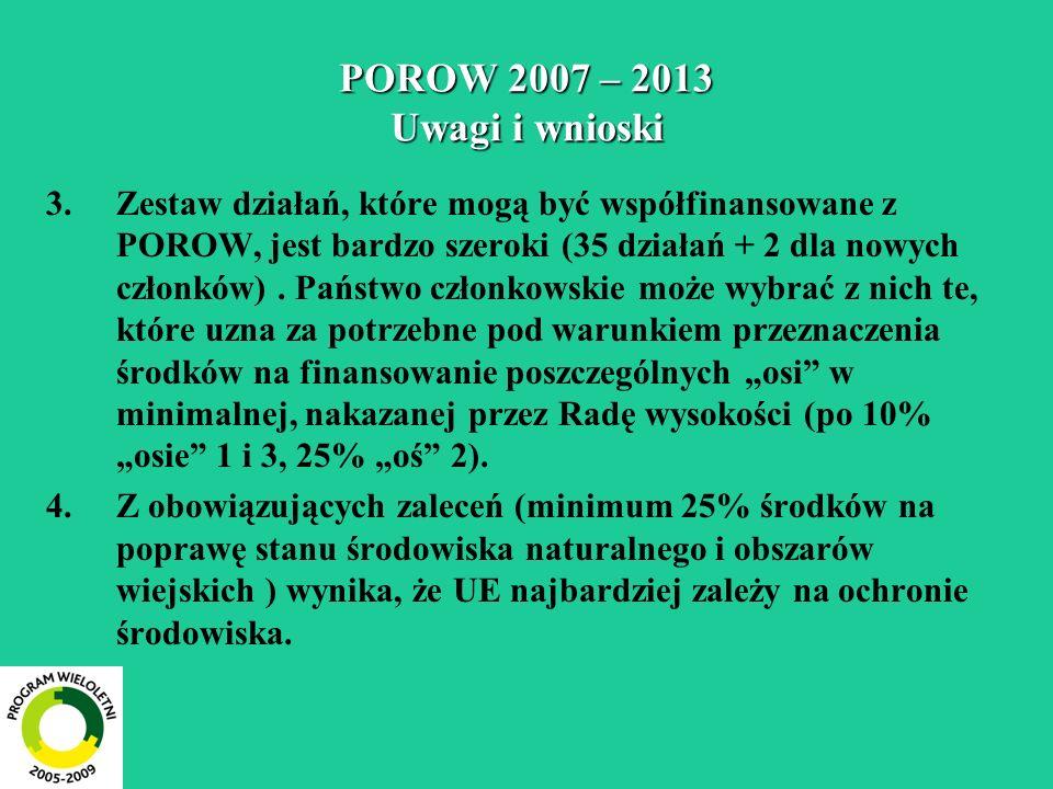 POROW 2007 – 2013 Uwagi i wnioski 3.Zestaw działań, które mogą być współfinansowane z POROW, jest bardzo szeroki (35 działań + 2 dla nowych członków).
