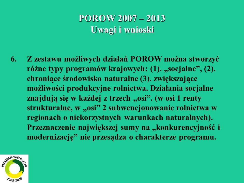POROW 2007 – 2013 Uwagi i wnioski 6.Z zestawu możliwych działań POROW można stworzyć różne typy programów krajowych: (1). socjalne, (2). chroniące śro