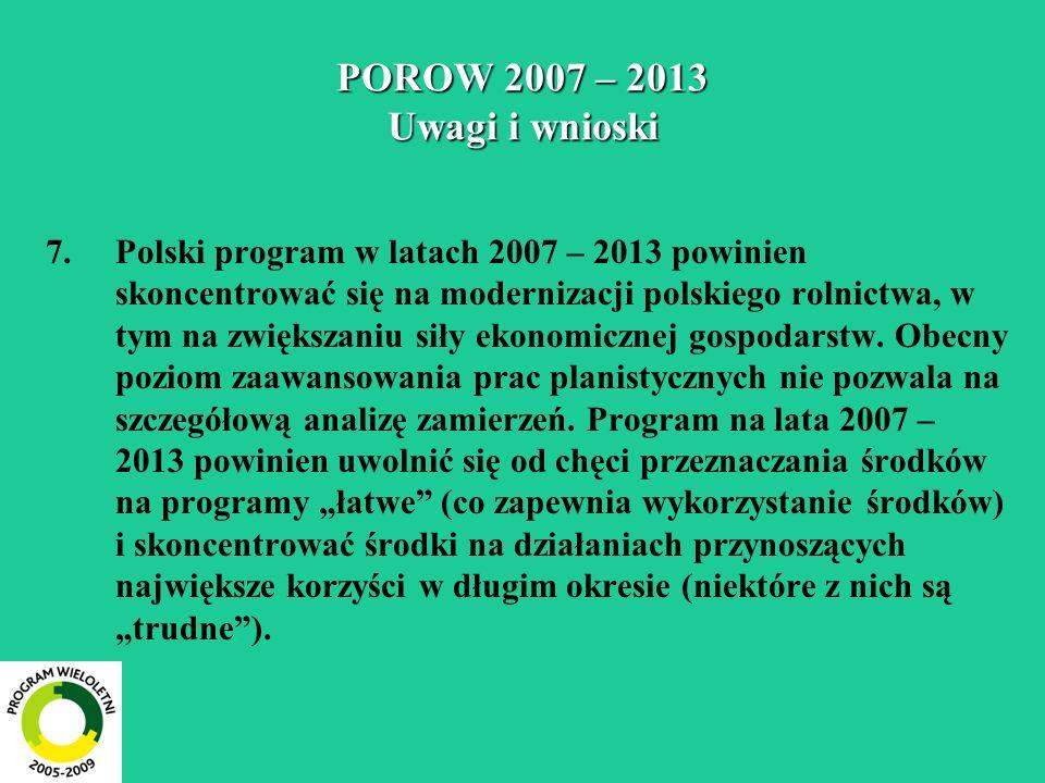 POROW 2007 – 2013 Uwagi i wnioski 7.Polski program w latach 2007 – 2013 powinien skoncentrować się na modernizacji polskiego rolnictwa, w tym na zwięk