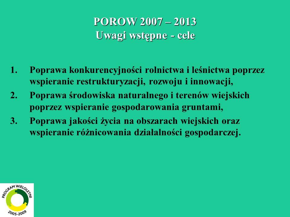 POROW 2007 – 2013 Poprawa jakości życia na obszarach wiejskich i różnicowanie gospodarki wiejskiej 1.Różnicowanie gospodarki wiejskiej Rozwijanie działalności nierolniczej, Tworzenie mikroprzedsiębiorstw, Wspieranie działalności turystycznej, 2.Poprawianie jakości życia na obszarach wiejskich Wsparcie organizacji podstawowych usług dla gospodarki wiejskiej i ludności wiejskiej, Zachowanie dziedzictwa przyrodniczego i kulturowego wsi,