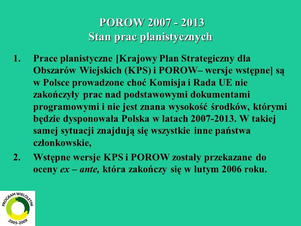 POROW 2007 - 2013 środki finansowe mln EUR - (zobowiązania) 20072007 -2013 Ogółem2 728 21 647 (100,0) z tego środki publiczne 2 326 18 460 (85,3) środki prywatne 402 3 187 (14,7) w tym budżet UE1 713 13 593 (62,8) budżet państwa polskiego 488 3 869 (17,9) budżety samorządów 126 998 (4,6) Środki ogółem w latach 2004 – 2006 - 5 362 mln EUR (1 787 mln EUR rocznie).