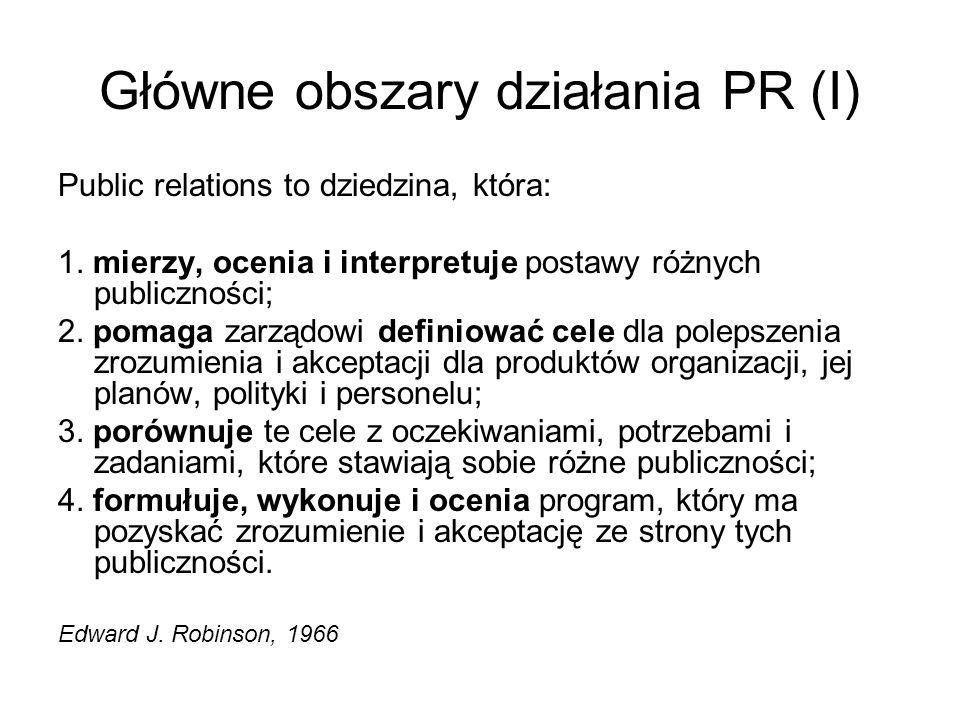 Główne obszary działania PR (I) Public relations to dziedzina, która: 1. mierzy, ocenia i interpretuje postawy różnych publiczności; 2. pomaga zarządo
