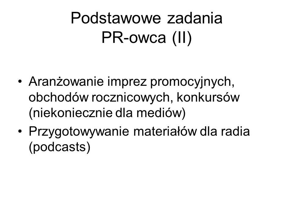Podstawowe zadania PR-owca (II) Aranżowanie imprez promocyjnych, obchodów rocznicowych, konkursów (niekoniecznie dla mediów) Przygotowywanie materiałó