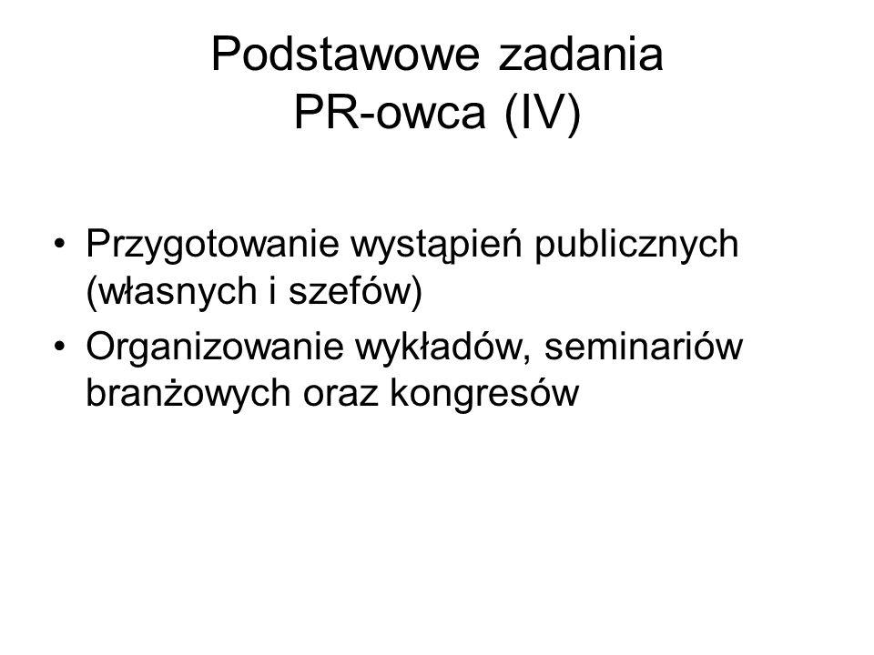 Podstawowe zadania PR-owca (IV) Przygotowanie wystąpień publicznych (własnych i szefów) Organizowanie wykładów, seminariów branżowych oraz kongresów