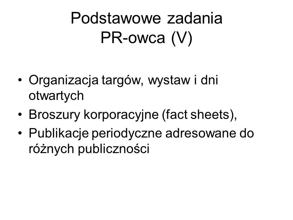 Podstawowe zadania PR-owca (V) Organizacja targów, wystaw i dni otwartych Broszury korporacyjne (fact sheets), Publikacje periodyczne adresowane do ró