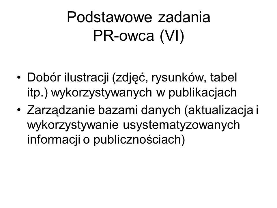 Podstawowe zadania PR-owca (VI) Dobór ilustracji (zdjęć, rysunków, tabel itp.) wykorzystywanych w publikacjach Zarządzanie bazami danych (aktualizacja