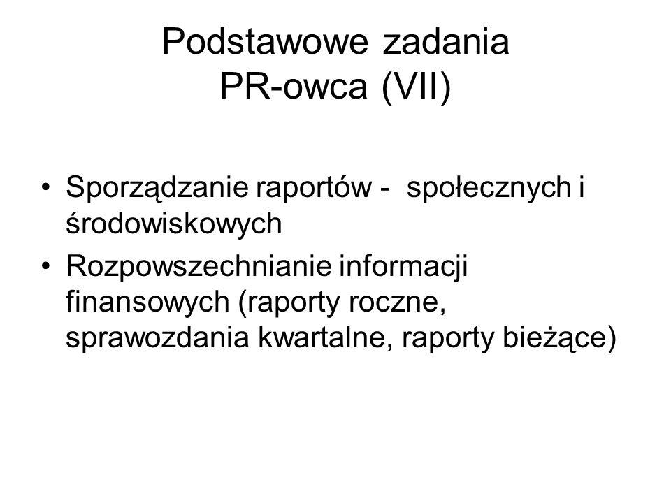 Podstawowe zadania PR-owca (VII) Sporządzanie raportów - społecznych i środowiskowych Rozpowszechnianie informacji finansowych (raporty roczne, sprawo