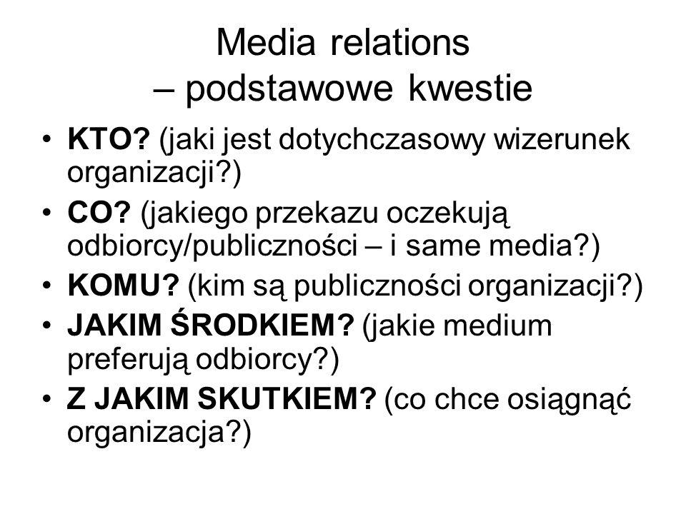 Media relations – podstawowe kwestie KTO? (jaki jest dotychczasowy wizerunek organizacji?) CO? (jakiego przekazu oczekują odbiorcy/publiczności – i sa