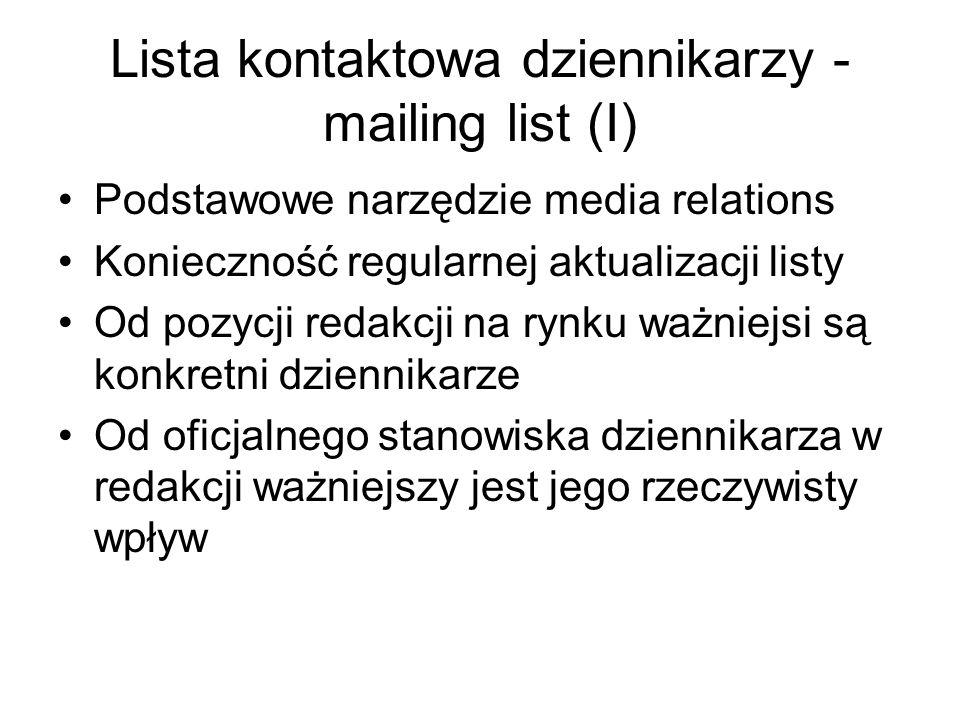 Lista kontaktowa dziennikarzy - mailing list (I) Podstawowe narzędzie media relations Konieczność regularnej aktualizacji listy Od pozycji redakcji na