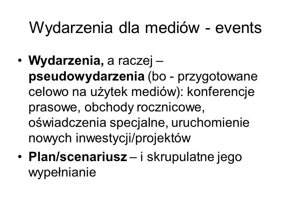 Wydarzenia dla mediów - events Wydarzenia, a raczej – pseudowydarzenia (bo - przygotowane celowo na użytek mediów): konferencje prasowe, obchody roczn