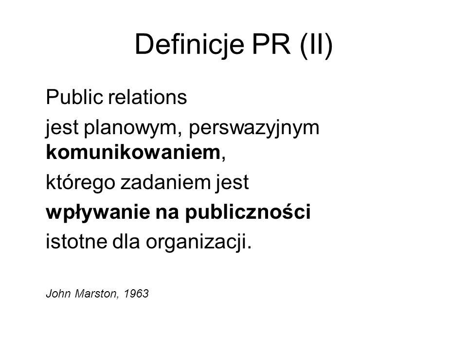 Definicje PR (II) Public relations jest planowym, perswazyjnym komunikowaniem, którego zadaniem jest wpływanie na publiczności istotne dla organizacji