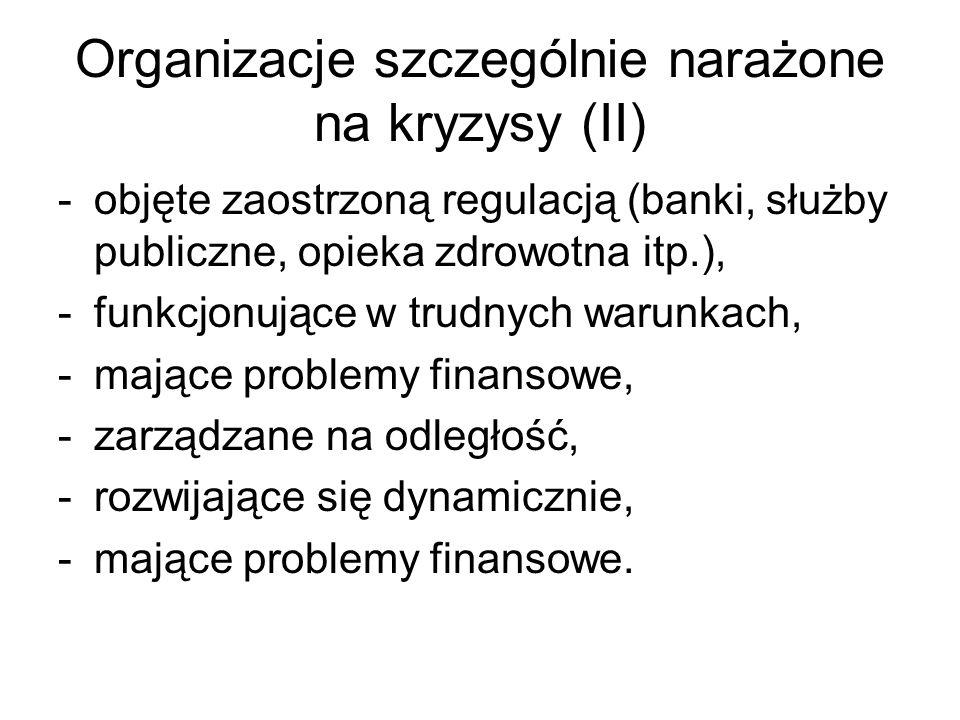 Organizacje szczególnie narażone na kryzysy (II) -objęte zaostrzoną regulacją (banki, służby publiczne, opieka zdrowotna itp.), -funkcjonujące w trudn