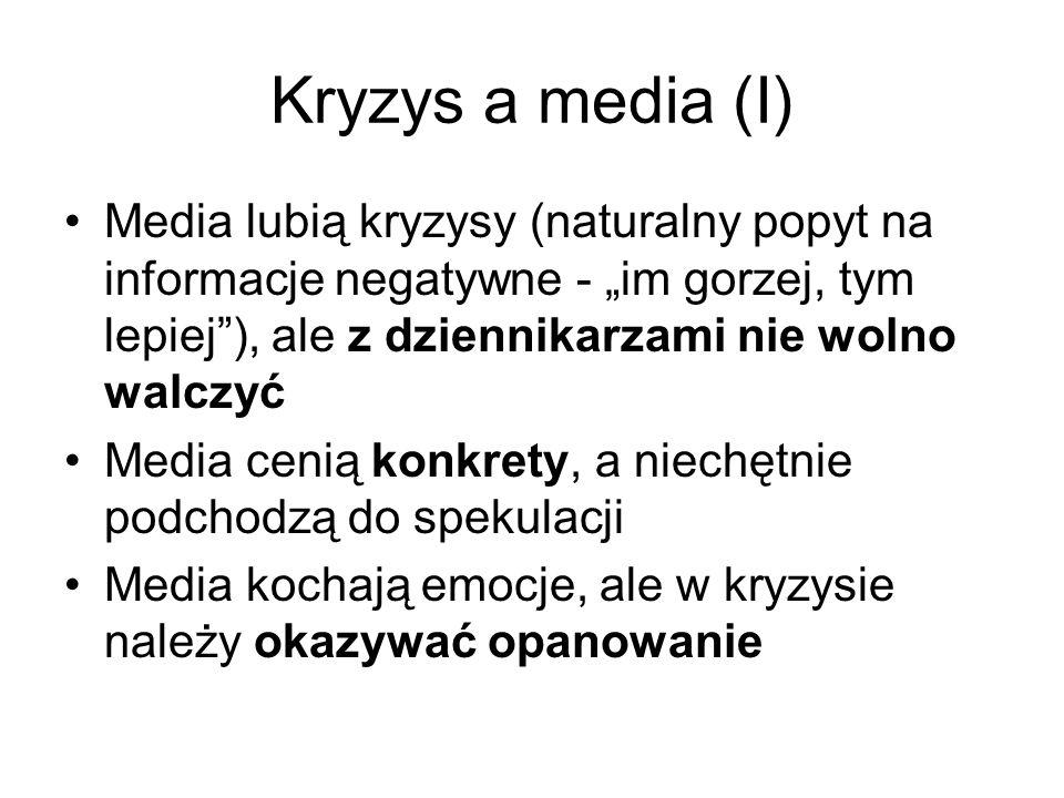 Kryzys a media (I) Media lubią kryzysy (naturalny popyt na informacje negatywne - im gorzej, tym lepiej), ale z dziennikarzami nie wolno walczyć Media