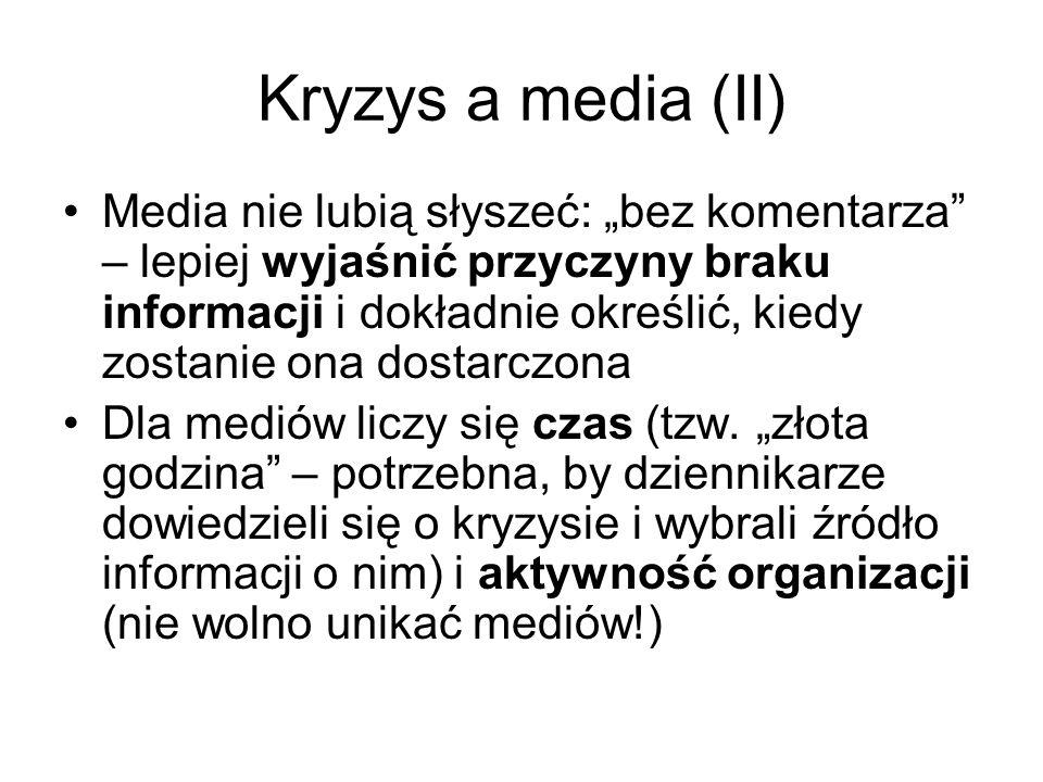 Kryzys a media (II) Media nie lubią słyszeć: bez komentarza – lepiej wyjaśnić przyczyny braku informacji i dokładnie określić, kiedy zostanie ona dost