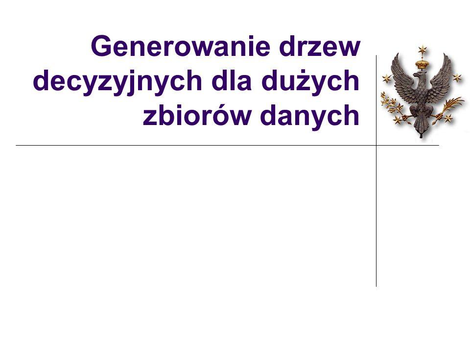 Klasyfikacja nowego obiektu I strategia - fuzzy decision tree: Przy węzłach wewnętrznych, wyznacz prawdopodobieństwa, że obiekt należy do lewego i do prawego poddrzewa.