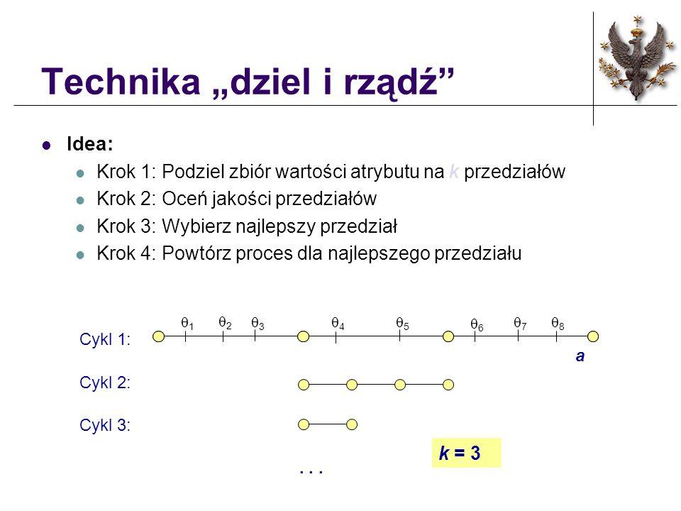Technika dziel i rządź Idea: Krok 1: Podziel zbiór wartości atrybutu na k przedziałów Krok 2: Oceń jakości przedziałów Krok 3: Wybierz najlepszy przed